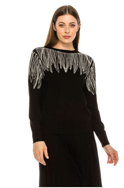 Feathered Shoulder Top