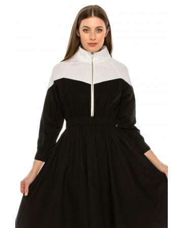 Black and White Zip Dress