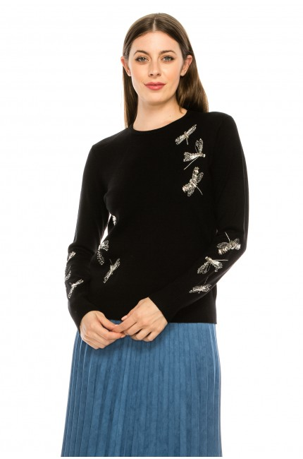 Top Stitch Knit with Dragonfly Detail
