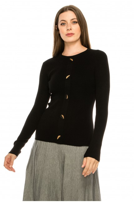 Wooden Button Sweater - black
