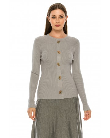 Wooden Button Sweater - grey