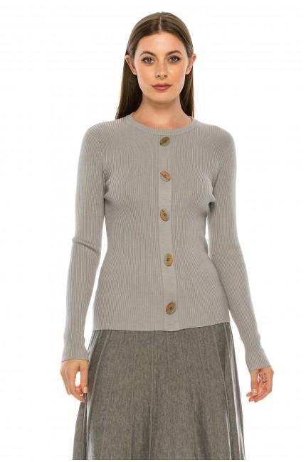 Wooden Button Sweater - grey