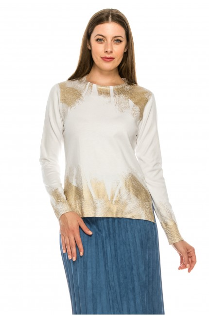 Lurex top with gold detailing
