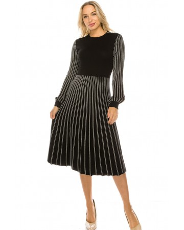 PLEATED STRIPED KNIT DRESS