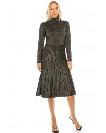 LUREX PLEATED KNIT DRESS