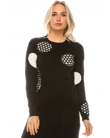 POLKA DOT LACED KNIT TOP