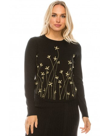 METALLIC FLORAL EMBROIDERED KNIT TOP
