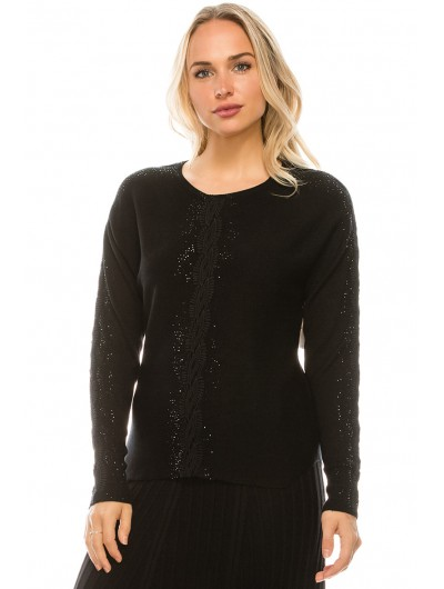 DROPPED SHOULDER LACE AND SEQUIN DETAIL TOP