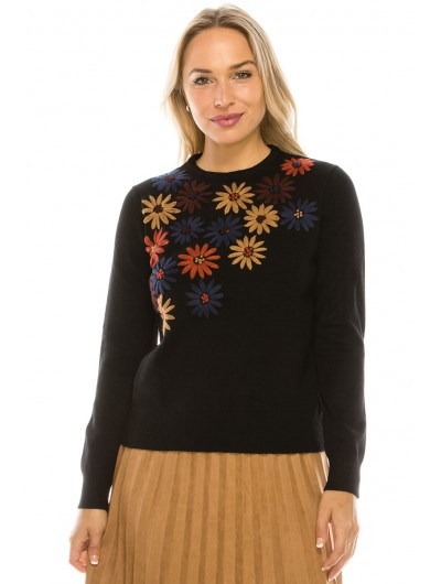 MULTI COLORED FLORAL EMBROIDERED TOP