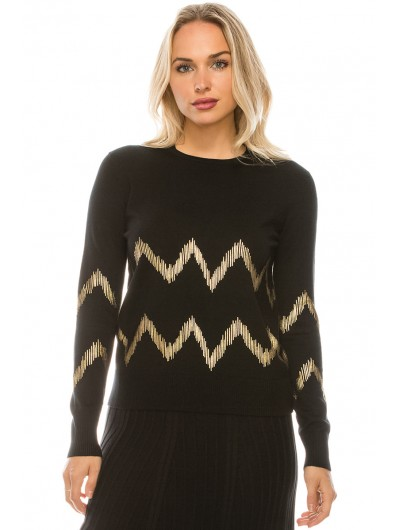 CHEVRON GOLD FOILED KNIT TOP