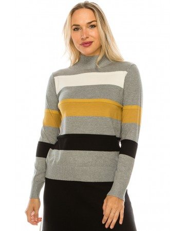 WIDE STRIPED MOCK NECK TOP