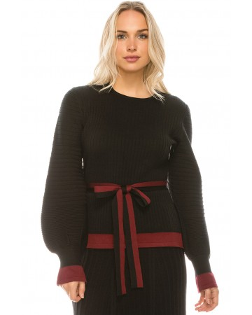 WIDE RIBBED KNIT TOP WITH BELT TIE