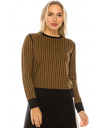 HOUNDSTOOTH KNIT TOP