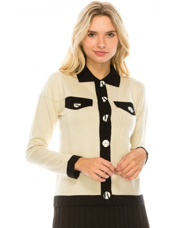 STRIPED BUTTON KNIT CARDIGAN