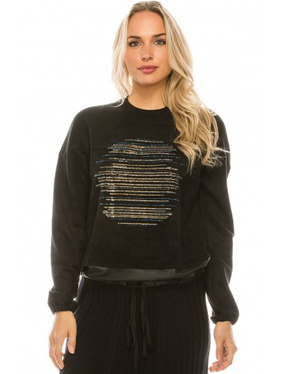 SUEDE PULLOVER WITH METALLIC STUDS