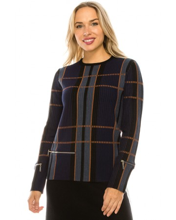 PLAID RIBBED TOP WITH ZIPPPER DETAIL