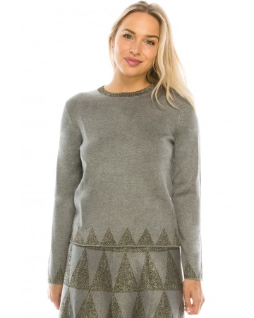 GREY TRIANGLE DETAIL KNIT TOP