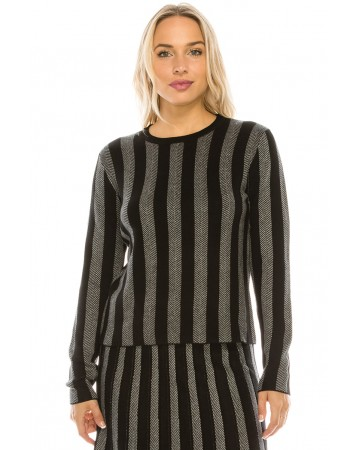 SILVER LUREX STRIPED KNIT TOP