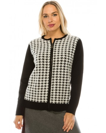 HOUNDSTOOTH KNIT ZIP UP