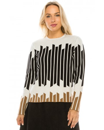 VERTICAL STRIPED KNIT TOP (WHITE)