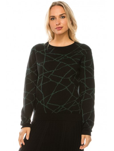 ABSTRACT LUREX LINES TOP (BLACK/GREEN)
