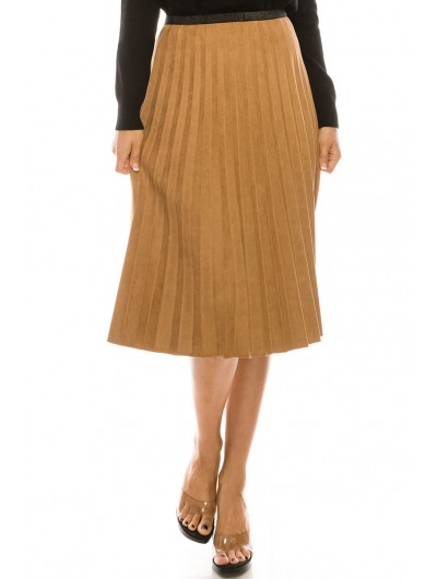 CAMEL PLEATED SUEDE SKIRT