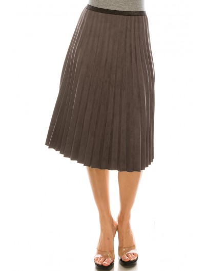 GREY PLEATED SUEDE SKIRT