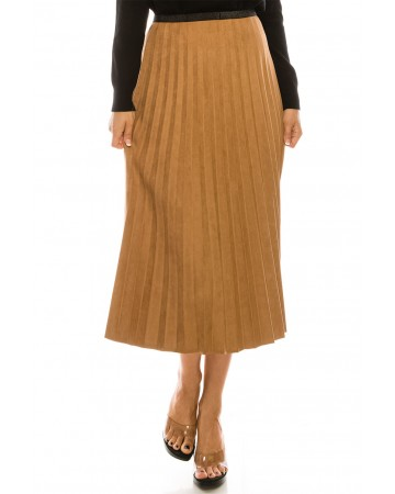 CAMEL PLEATED SUEDE MIDI SKIRT