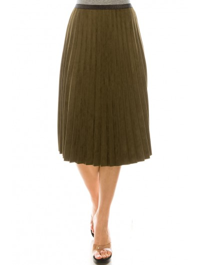 OLIVE PLEATED SUEDE SKIRT