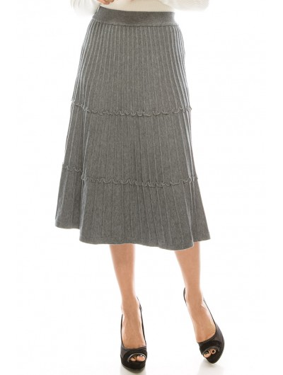 GREY KNIT TIERED SKIRT