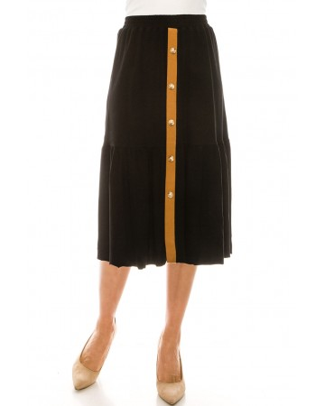 Button Front Skirt (Black)