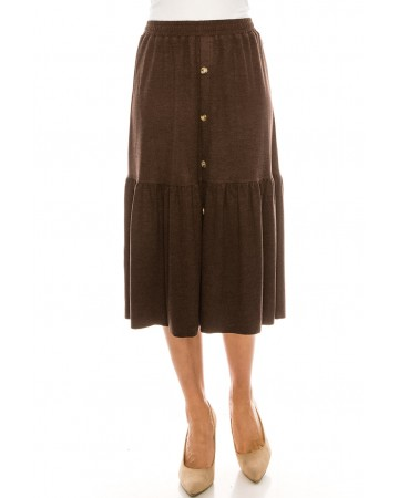 Button Front Skirt (Brown)