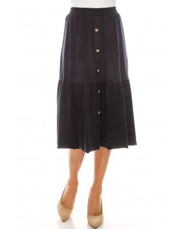 Button Front Skirt (Navy)