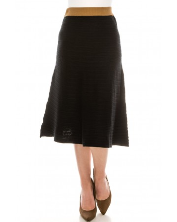 Black Skirt with Camel Top