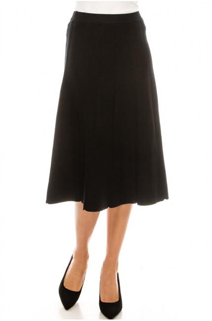 Button Front Skirt Black