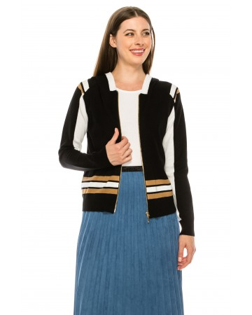 Zip Front Striped Sweater