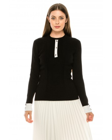 Ribbed Sweater with Large Buttons - Black
