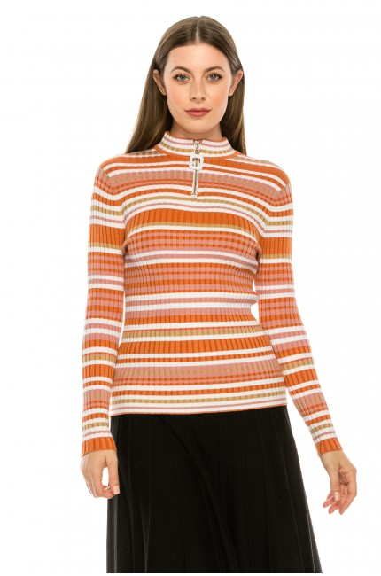 Orange Striped Ribbed Sweater