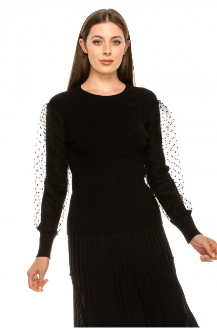 Dotted Puffed Sleeve Top