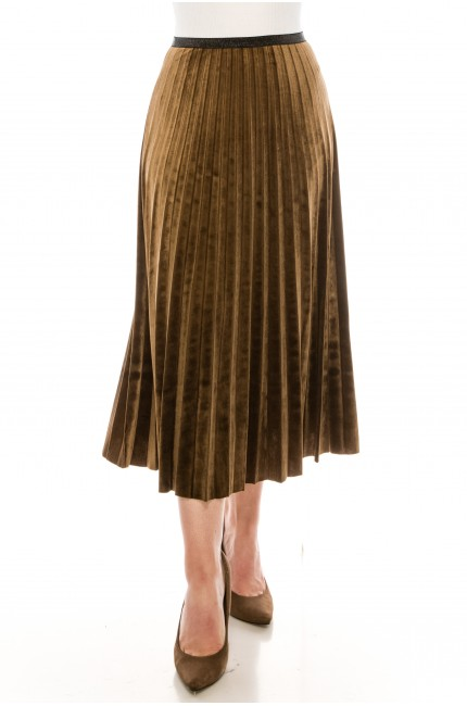 Taupe Pleated Suede Midi