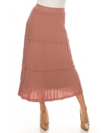 Tiered Pleated Ankle Skirt Black