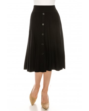 High Waisted Button Front Skirt