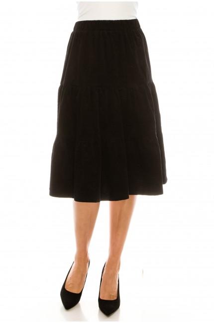 Black Corduroy Tiered Skirt
