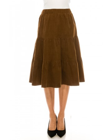 Brown Corduroy Tiered Skirt