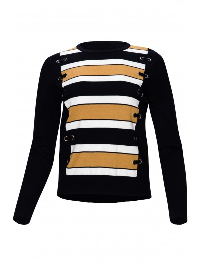Striped Black Top With Grommets