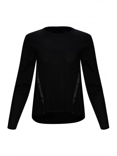 Cotton Black Top With Knit Insert