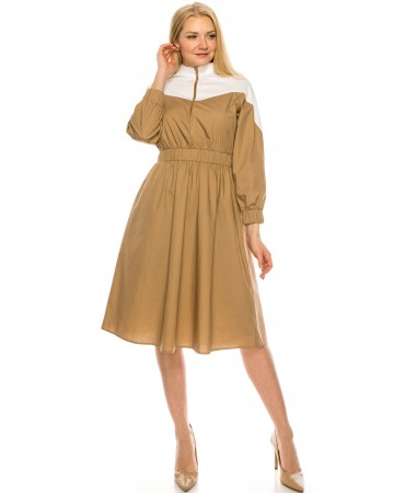 Camel and white Zip dress