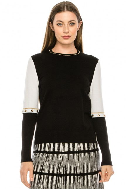 Knit Sweater with Gold Button Details