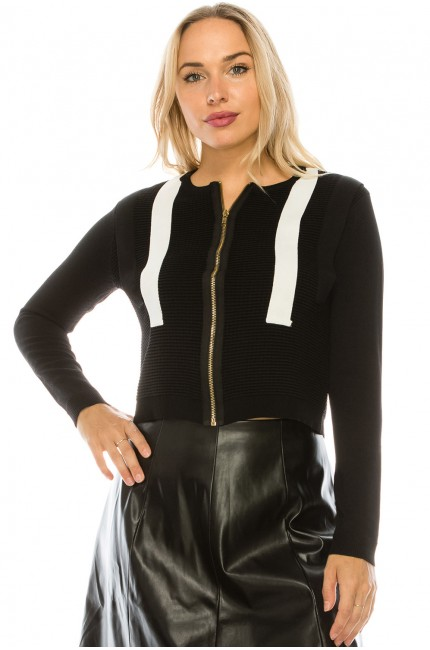 Ribbed Zip Front Striped Sweater