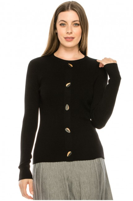 Wooden Button Sweater - black